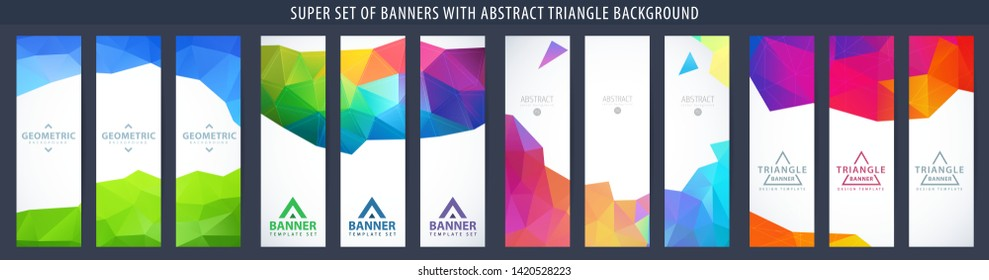 Set of abstract vector vertical banner with triangle background. Template for design