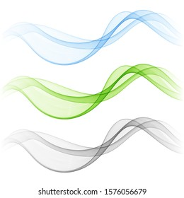 Set of abstract vector waves. Wave flow. Flow of colored waves.