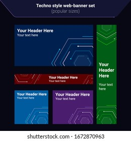 Set of abstract vector web banners in techno electric style. Most common display ad sizes