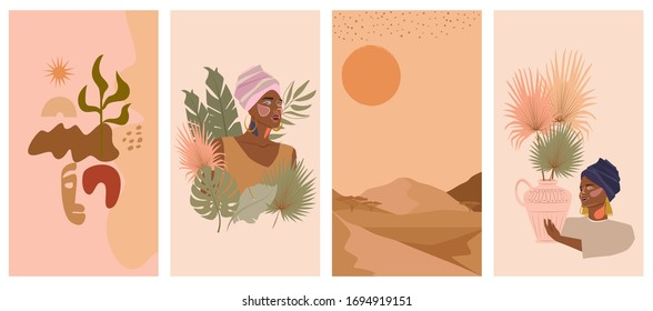 Set of abstract vertical background with African woman in turban,  ceramic vase and jugs, plants, abstract shapes and landscape. Background for social media minimalistic style. Vector illustration