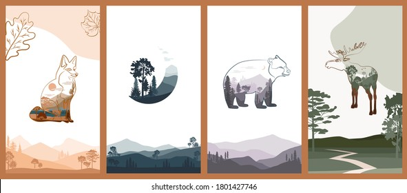 Set of abstract vertical background with autumn forest, animals, leaves in one line style and abstract shapes and landscape. Background for social media minimalistic style. Vector illustration