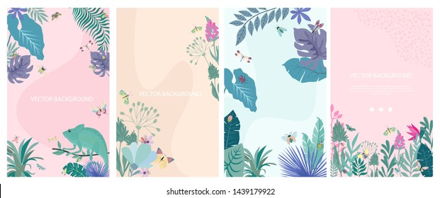 Set of abstract vertical background with insects and plants. Background for mobile app page minimalistic style. Editable Vector illustration