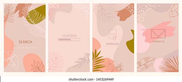 Set of abstract vertical background. Landing page, download, loading, send a message and search page. Concept for Website or Mobile App. Editable vector illustration