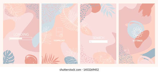 Set of abstract vertical background. Landing page, download, loading, settings and search page. Concept for Website or Mobile App. Editable vector illustration.