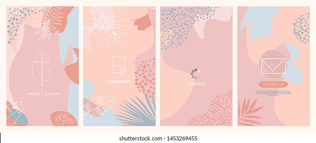 Set of abstract vertical background. Landing page, send a message, loading, authorization and search page. Concept for Website or Mobile App. Editable vector illustration