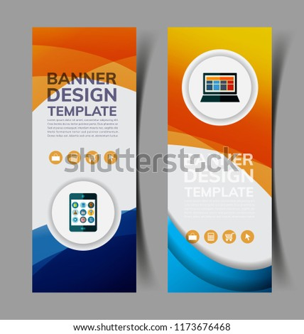 set abstract vertical banners wavy shape stock vector royalty free