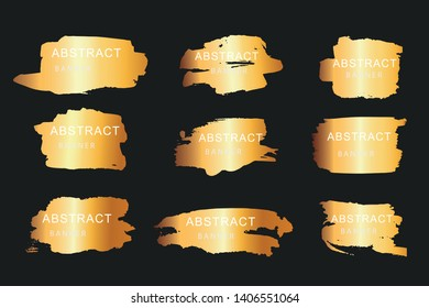 Set of abstract vertical golden colored watercolor brush strokes .Good for design template, logos, stickers, cards, banners. Vector.