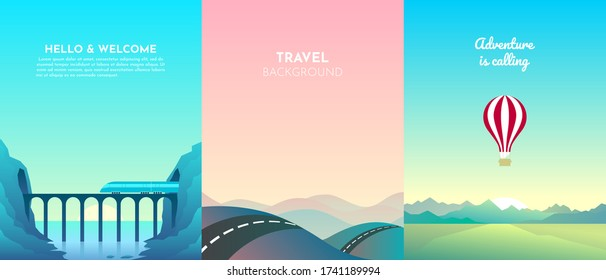 Set of abstract vertical landscapes. Mountain Bridge, Balloon, Highway. Flat minimalistic design. Three backgrounds of nature for travel, hiking, adventure.