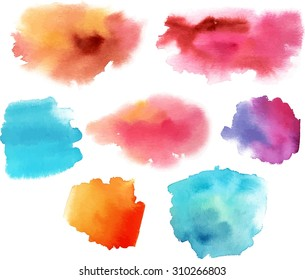 A set of abstract watercolour stains in various colours, scalable vector graphic