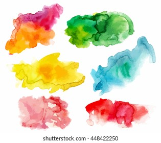 A set of abstract watercolour stains in various colours, scalable vector graphic; paint brush strokes in purple and orange, green, yellow, teal blue, pink, and red; handmade textures for design