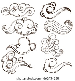 Set of abstract wavy elements. Hand drawn, sketch style. Outline vector illustration isolated on white background.