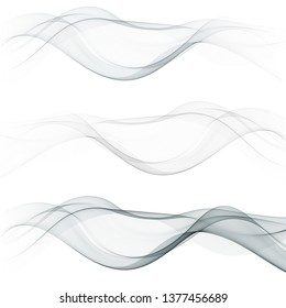 Set of abstract wavy silver wave