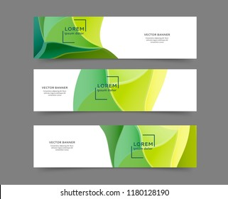 Set of abstract web banner templates with abstract lines and waves. Different sizes