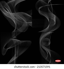 set of abstract white line grey wave gray band on black background vector