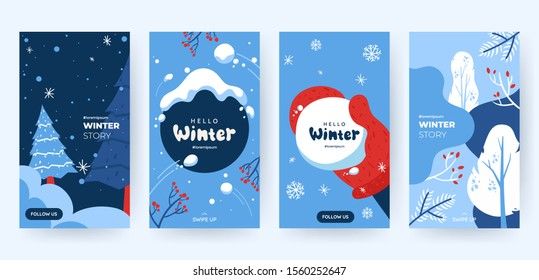 Set of abstract winter backgrounds for social media stories. Colorful winter banners with falling snowflakes, snowy trees. Wintry scenes . Use for event invitation, discount voucher, ad. Vector eps 10