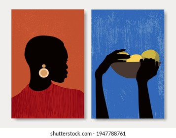 Set abstract woman and hands vector. Contemporary art. Fashion female figure in modern style. Vector illustration in hand drawn flat style