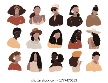 Set of abstract woman portraits isolated on white background. Modern young feminine woman fashion minimal trendy people face in flat style. Vector hand drawn illustration