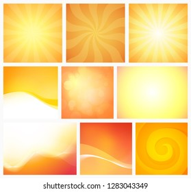 Set of Abstract Yellow Orange Backgrounds warm colors. Vector element design with colorful bright wallpaper. Illustration of Light, Sun, warm and creative shapes in summer dawn colors.