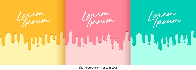 Set of abstract yellow pink and green fluid flowing drop. Minimal style. Simple flat trendy color design for presentation, flyer, brochure, website, front page, book, etc. Vector illustration