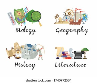 A set of academic disciplines. Biology, Geography, History, Literature for school notebooks