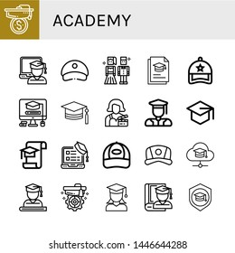 Set of academy icons such as Mortarboard, Graduate, Cap, Prom night, Graduation, Actress, Graduated , academy
