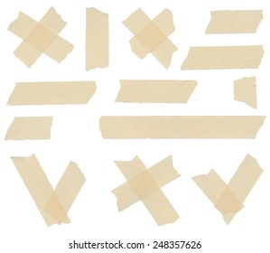 Set of accept or yes, no symbols, cross and different size adhesive tape pieces on white background