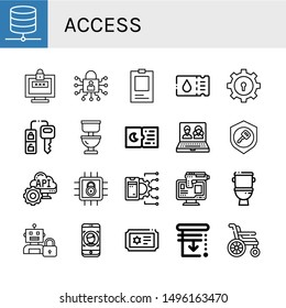 Set of access icons such as Database, Password, Lock, ID, Ticket, Car key, Toilet, Tickets, Online, Key, Api, Online robbery, Face id, Blinds, Wheelchair , access