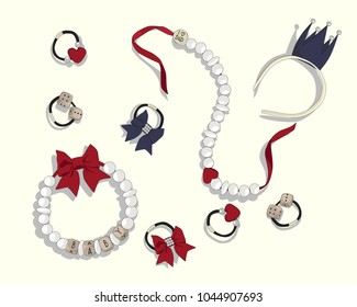 Set accessories for girls. Vector fashion illustration