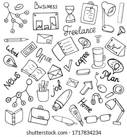 Set with accessories for work. Freelance work at home. The office set. Vector isolated illustration with business graphs, items necessary for working on a white background. Freelance - Doodle set.