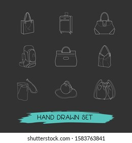 Set of accessory icons line style symbols with hobo, tote, bucket bag and other icons for your web mobile app logo design.