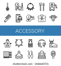 Set of accessory icons such as Toilet brush, Comb, Earphone, Headphone, Necklace, Pool kickboard, Makeup brushes, Briefcase, Sharpener, Piercing, Apron, Napkin, Earrings , accessory