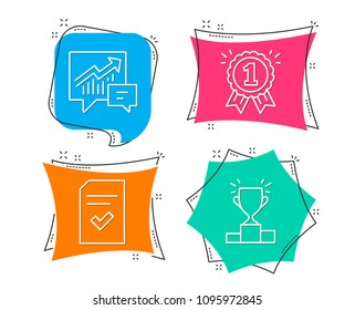 Set of Accounting, Checked file and Reward icons. Winner podium sign. Supply and demand, Correct document, First place. Competition results.  Flat geometric colored tags. Vivid banners. Vector