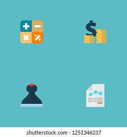 Set of accounting icons flat style symbols with expenses, math, stamp and other icons for your web mobile app logo design.