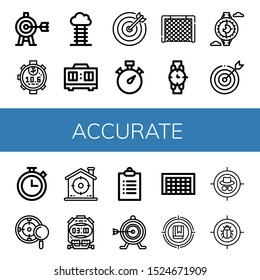 Set of accurate icons. Such as Target, Stopwatch, Goal, Timer, Watch, Chronometer, Goals , accurate icons