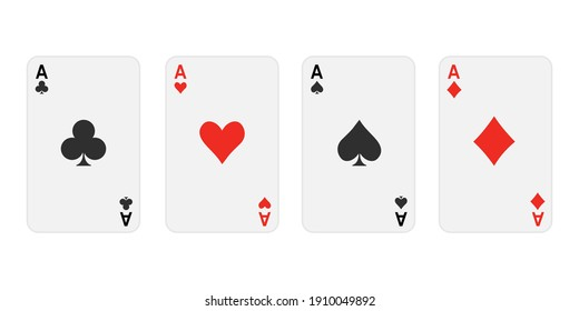 set of Ace card suit on white background.