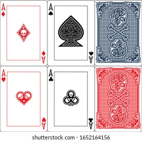 set, ace, poker, playing with skeleton