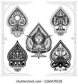 Set of ace of spades with forging curl pattern, facewith beard, star with torch. Prints isolated on white