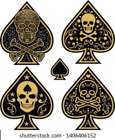 set ace of spades with skull