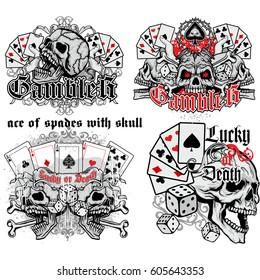 set ace of spades with skull grunge vintage design t shirts