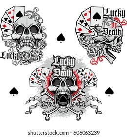 set ace of spades with skulll, grunge vintage design t shirts