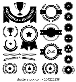 Set of achievement award silhouettes. Includes various badges, ranks, emblems, wreaths, star awards, achievement trophy, and victory banners. Great to represent winners in a competition. Vector EPS10.