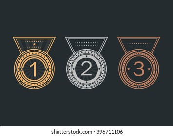 Set of achievement icons. Gold, silver and bronze medals. Collection of elements for winner. Set of award emblems for games, website or an app. Trophy pictogram. Flat vector style.