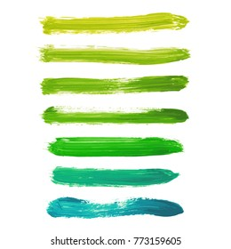 Set of acid green, yellow, greenery hand painted watercolor stripes isolated on white background. Collection of fluid ink, acrylic pours, dry brush stains, strokes, geometric horizontal lines, frames.