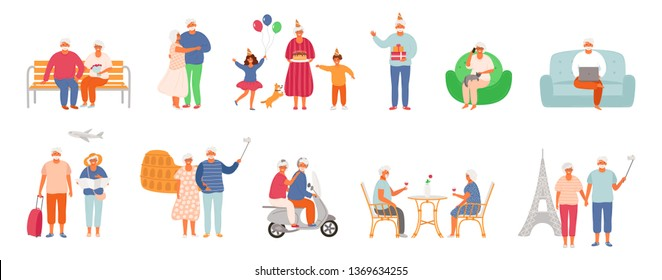 Set of active lifestyle seniors. Elderly people characters. Old people traveling the world, visit a cafe, use a laptop, talk on the phone, celebrate a birthday with family, dance together. EPS 8.