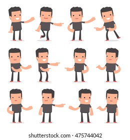 Set of Active and Positive Character Bully making presentation poses for using in design, etc.