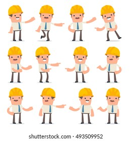 Set of Active and Positive Character Foreman making presentation poses for using in design, etc.