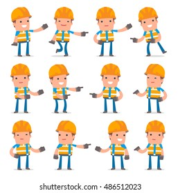 Set of Active and Positive Character Constructor making presentation poses for using in design, etc.