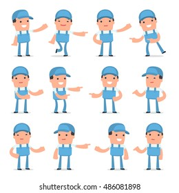 Set of Active and Positive Character Repairman making presentation poses for using in design, etc.