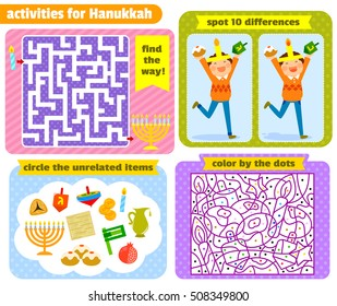 set of activities for children related to Hanukah