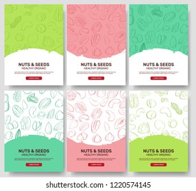 Set of AD-cards (banners, tags, package) with hand DRAW nuts - hazelnut, almond, pistachio, pecan, cashew, brazil nut, walnut, peanut, pine nuts. Vector art.